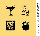 filled set of 4 drinks icons... | Shutterstock .eps vector #1092330773