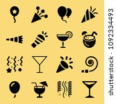 filled set of 16 party icons... | Shutterstock .eps vector #1092334493