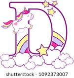 initial d with cute unicorn and ... | Shutterstock .eps vector #1092373007