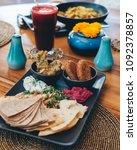 mezze platter with falafels ... | Shutterstock . vector #1092378857