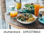 vegetarian salad bowl with... | Shutterstock . vector #1092378863