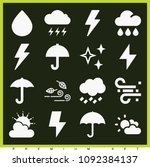 set of 16 weather filled icons... | Shutterstock .eps vector #1092384137
