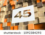 number 45 on the wood pattern... | Shutterstock . vector #1092384293