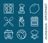 set of 9 cooking outline icons... | Shutterstock .eps vector #1092394607