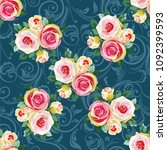 seamless floral pattern with... | Shutterstock .eps vector #1092399593