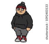 cartoon hip hop fashion | Shutterstock .eps vector #1092403133