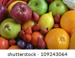 Fruit and vegetables . Various natural fruit and vegetables picture taken under warm morning light. Great image for healthy and natural food or background for  fruit and vegetables product. - stock photo