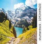 idyllic panorama view of the... | Shutterstock . vector #1092449633