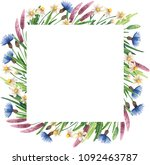 square frame with wildflowers.... | Shutterstock . vector #1092463787