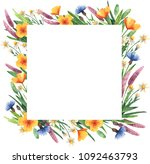 square frame with wildflowers.... | Shutterstock . vector #1092463793