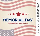happy memorial day papper banner | Shutterstock .eps vector #1092499463