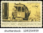 USA - CIRCA 1971: A Stamp printed in USA shows the Cable Car, San Francisco, Historic Preservation issue, circa 1971 - stock photo