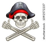 Pirate Jolly Roger skull and crossbones giving a thumbs up   Shutterstock vector #1092572237