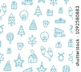 christmas outlined doodle... | Shutterstock .eps vector #1092580883