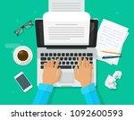 writer writing on computer... | Shutterstock . vector #1092600593