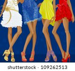 Long Legs Of Four Chic Girls...