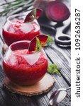 fresh vegetable smoothie from... | Shutterstock . vector #1092636287