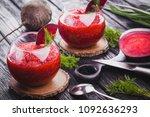 fresh vegetable smoothie from... | Shutterstock . vector #1092636293