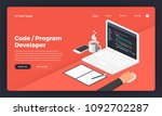 mock up design website flat... | Shutterstock .eps vector #1092702287