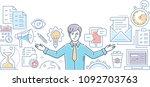 multitasking   line design... | Shutterstock .eps vector #1092703763