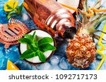pina colada ingredients and bar ... | Shutterstock . vector #1092717173