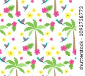 seamless pattern with palm tree....   Shutterstock .eps vector #1092738773
