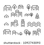 thin line city icon set | Shutterstock .eps vector #1092743093