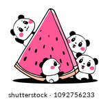 happy cute panda eat fresh...   Shutterstock .eps vector #1092756233