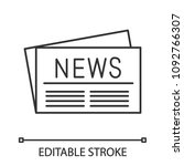 newspaper linear icon. thin... | Shutterstock .eps vector #1092766307