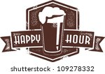 Happy Hour Beer Pint Stamp - stock vector
