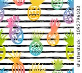 seamless pattern with hand... | Shutterstock .eps vector #1092796103