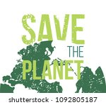save the planet vector poster | Shutterstock .eps vector #1092805187
