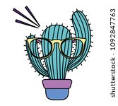 color kawaii cactus plant... | Shutterstock .eps vector #1092847763
