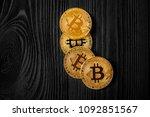 gold bitcoin money on wooden... | Shutterstock . vector #1092851567
