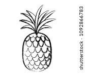 grunge tropical pineapple fruit ... | Shutterstock .eps vector #1092866783