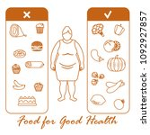 fat woman with and useful and...   Shutterstock .eps vector #1092927857