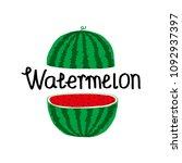 watermelon icon  vector fruit... | Shutterstock .eps vector #1092937397