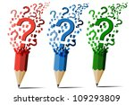 Collection of pencil question marks vector. - stock vector