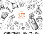 alcoholic cocktails hand drawn... | Shutterstock .eps vector #1092953153