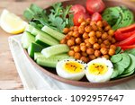 buddha bowl  healthy and...   Shutterstock . vector #1092957647