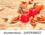blood orange juice. red orange...   Shutterstock . vector #1092958037