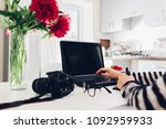 freelancer photographer working ... | Shutterstock . vector #1092959933