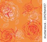 vector seamless rose pattern | Shutterstock .eps vector #1092964457