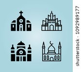 filled monuments 4 vector icons ...