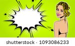 elegance pop art woman swimsuit ... | Shutterstock .eps vector #1093086233
