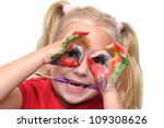 child hands with paint on fingers - stock photo