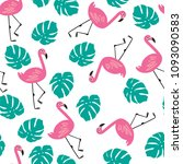 pink flamingos  exotic birds ... | Shutterstock .eps vector #1093090583