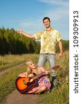 young man and woman with guitar.... | Shutterstock . vector #109309913