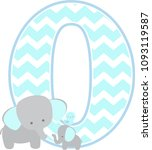 number 0 with cute elephant and ... | Shutterstock .eps vector #1093119587