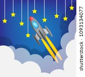 take off rocket launch... | Shutterstock .eps vector #1093134077
